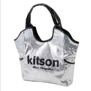 Kitson Los Angeles Silver & Black Sequin Tote Bag